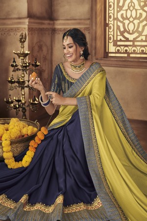 Lime&Blue Satin Georgette Saree with Blouse