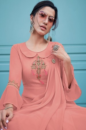 Peach Georgette Gown