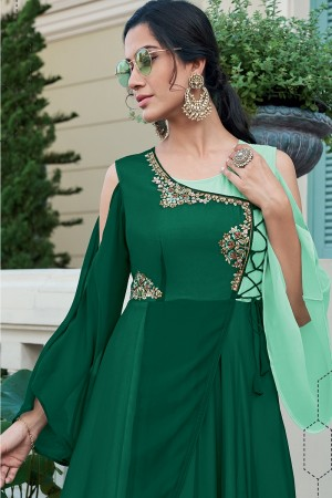 Green & SeaGreen Georgette Gown