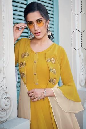 Mustard Georgette Gown