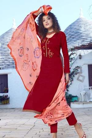 Red Jam Silk Dress material
