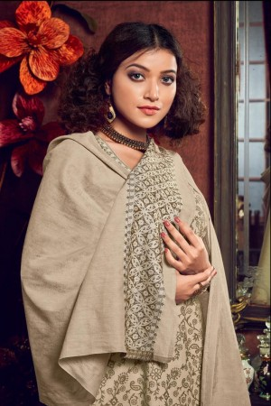 Beige Handloom Weaving Cotton Jacquard Dress material