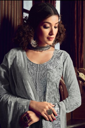 Grey Handloom Weaving Cotton Jacquard Dress material