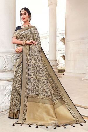 Cream Banarasi Jacquard Saree with Blouse