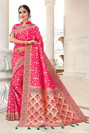 Ranipink Banarasi Jacquard Saree with Blouse