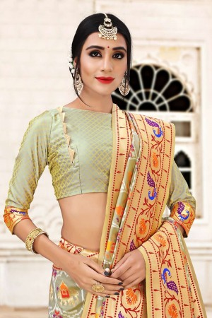 Light Mehendi Banarasi Jacquard Saree with Blouse