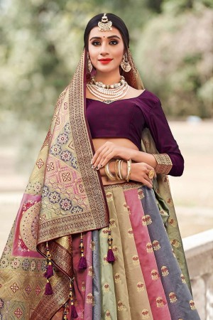 MultiColor Banarasi Jacquard Saree with Blouse