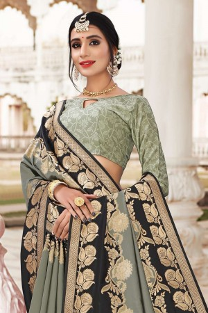 Mehendi Banarasi Jacquard Saree with Blouse