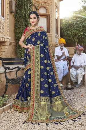 Blue Banarasi Jacquard Saree with Blouse