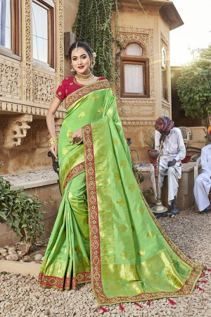 Green Banarasi Jacquard Saree with Blouse