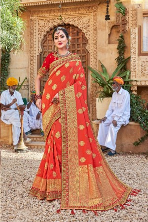 Orange Banarasi Jacquard Saree with Blouse