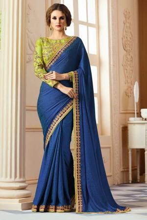 Stylish Dark Blue Silk Crape Heavy Embroidery Blouse with Lace Border Saree