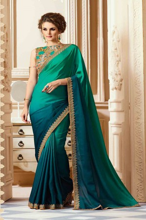 Fab Pine Silk Crape Heavy Embroidery Blouse with Lace Border Saree