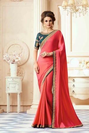 Picturesque Tometo Red Satin  Heavy Embroidery Blouse with Lace Border Saree