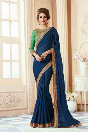Beautiful Dark Blue Georgette Heavy Embroidery Blouse with Lace Border Saree