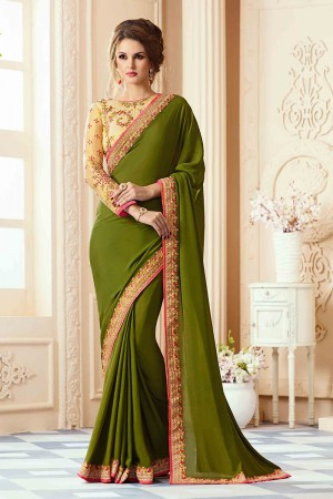 Refreshing Mehendi Silk Crape Heavy Embroidery Blouse with Lace Border Saree