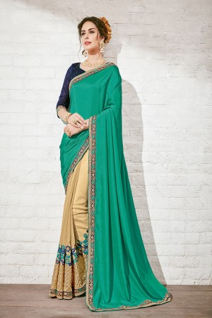 Classic Green & Beige Georgette Half & Half Embroidery Saree
