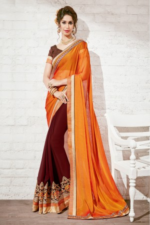 Designer Orange & Brown Georgette Half & Half Embroidery Saree