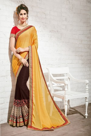 Alluring Yellow & Brown Georgette Half & Half Embroidery Saree