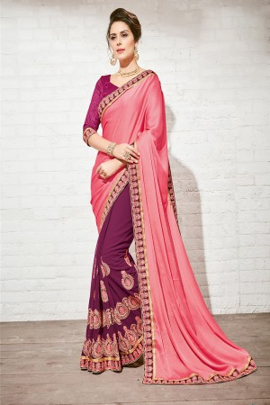 Majestic Pink & Maroon Georgette Half & Half Embroidery Saree