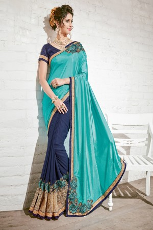 Glossy Turquoise & Blue Georgette Half & Half Embroidery Saree
