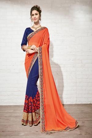 Sensuous Orange & Blue Georgette Half & Half Embroidery Saree