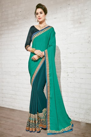 Aesthetic Turquoise & Green Georgette Half & Half Embroidery Saree