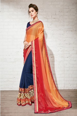 Breezy Orange & Blue Georgette Half & Half Embroidery Saree