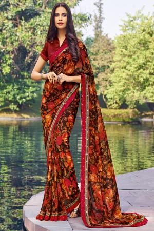 Glamorous Multicolor Georgette  floral design Saree