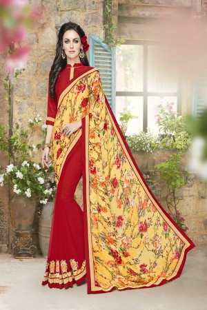 Classy Yellow and red Jacquard Designer border and floral prints  patch work Saree