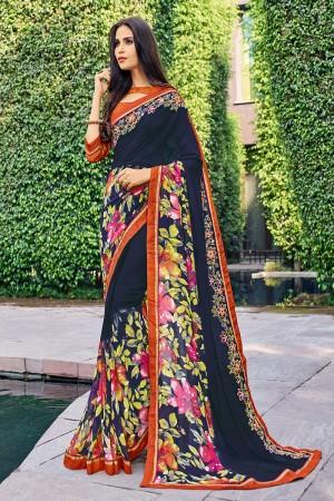 Fantastic Multicolor Georgette  patch work, floral design Saree
