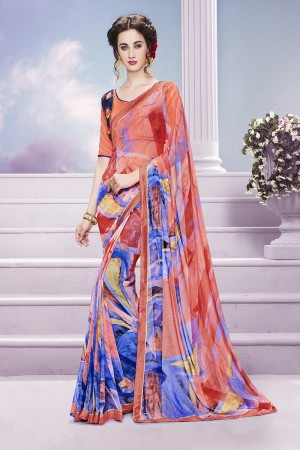 Impressive Multicolor Georgette Print with Embroidered Blouse Saree