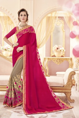 Picturesque Pink Jacquard Heavy Embroidery Panel Work  Saree