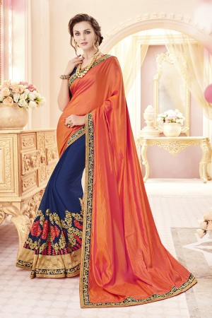 Beautiful Orange Papersilk Heavy Embroidery Panel Work  Saree