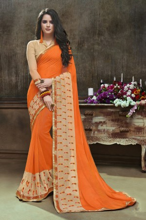 Delightful Orange Major Georgette Printed and Embroidered Saree