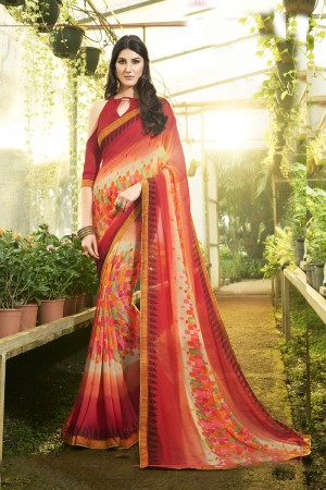 Decent Peach Major Georgette Print With Lace Border Saree