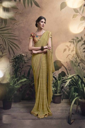 Dazzling Gold Major Georgette Print With Lace Border Saree