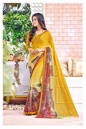 Vibrant Yellow Major Georgette Print With Lace Border Saree