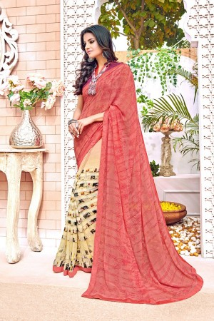 Pleasant Peach Major Georgette Print With Lace Border Saree