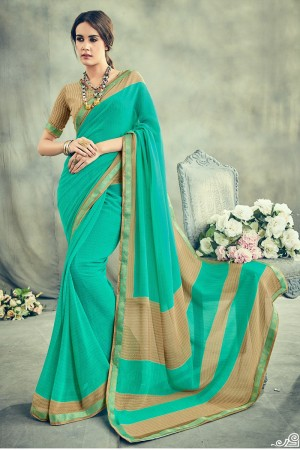 Striking Blue Major Georgette Print With Lace Border Saree