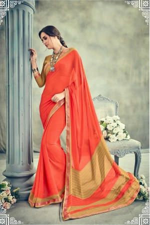 Enchanting Orange Major Georgette Print With Lace Border Saree