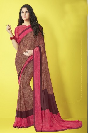 Charismatic  Brown Major Georgette Print With Lace Border Saree