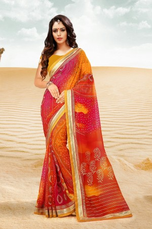 Picturesque Orange Major Georgette Print With Lace Border Saree
