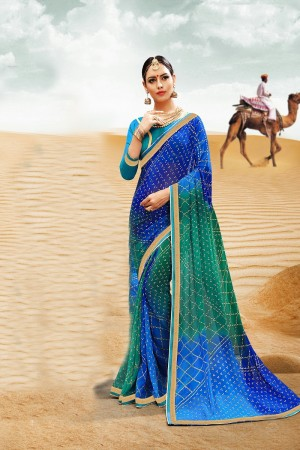 Modish Blue Major Georgette Print With Lace Border Saree