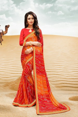 Gorgeous Orange Major Georgette Print With Lace Border Saree
