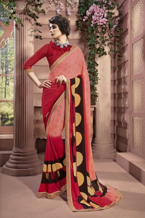 Dashing Peach Weight Less Print With Lace Border Saree