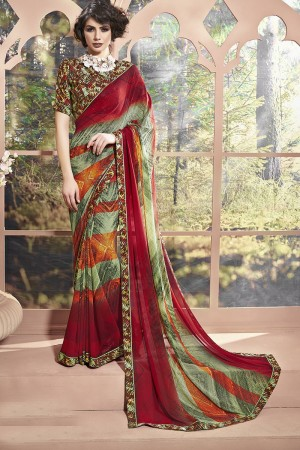 Eye catching Maroon Weight Less Print With Lace Border Saree
