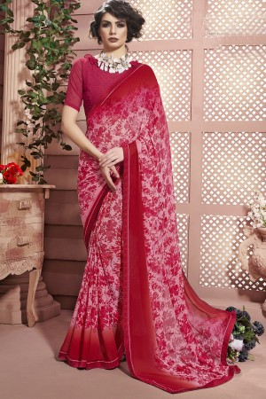 Tremendous Pink Weight Less Print With Lace Border Saree