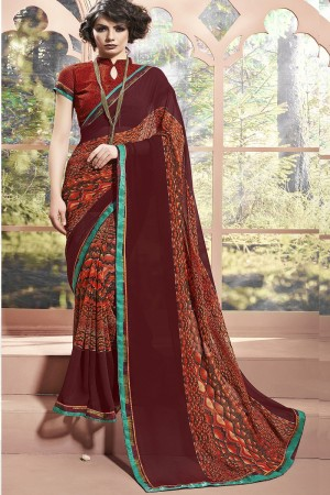 Dynamic Brown Weight Less Print With Lace Border Saree