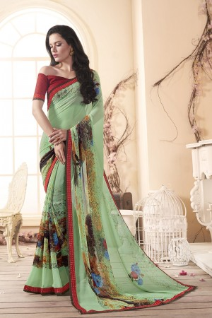 Enthralling Multi Major Georgette Print With Lace Border Saree